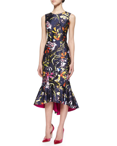 Abstract Floral-Print High-Low Flounce Hem Dress