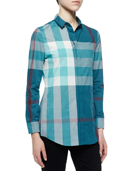 Burberry Brit Long-Sleeve Placket-Front Check Shirt, Teal