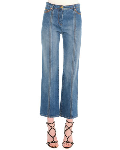 Contrast-Stitched Flared Jeans