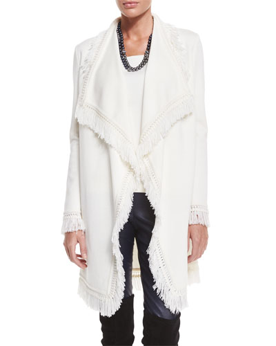 Milano Knit Artisan Fringe Topper Jacket, Cream