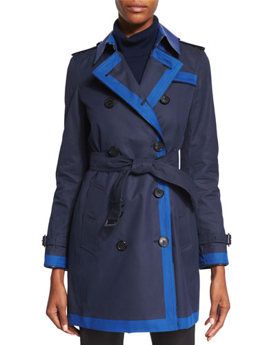 Double-Breasted Contrast-Trim Trenchcoat, Marine Blue