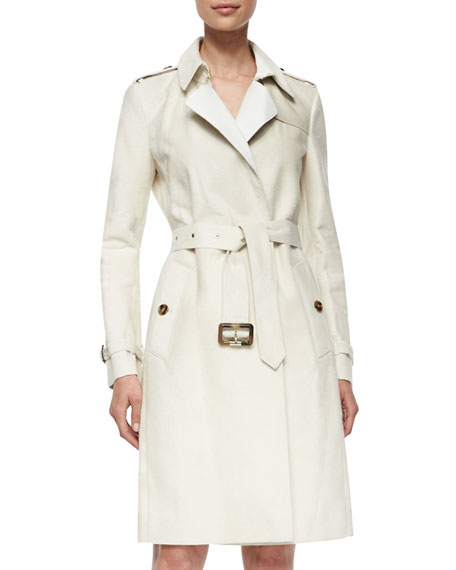 Burberry London Calf-Fur Double-Breasted Extra-Long Trenchcoat, White