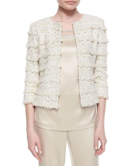 St. John Collection Metallic Eyelash Fringed Knit Jacket