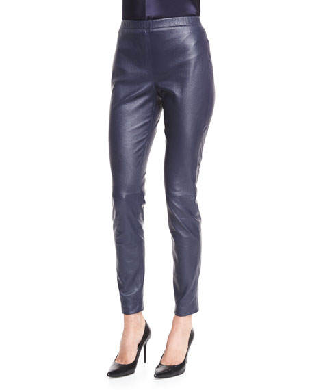 Stretch Napa Leather Cropped Leggings, Bright Navy