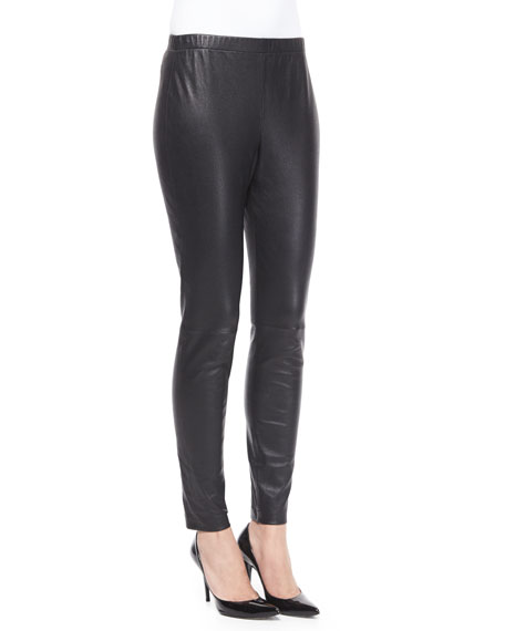 St. John Collection Stretch Napa Leather Cropped Pants