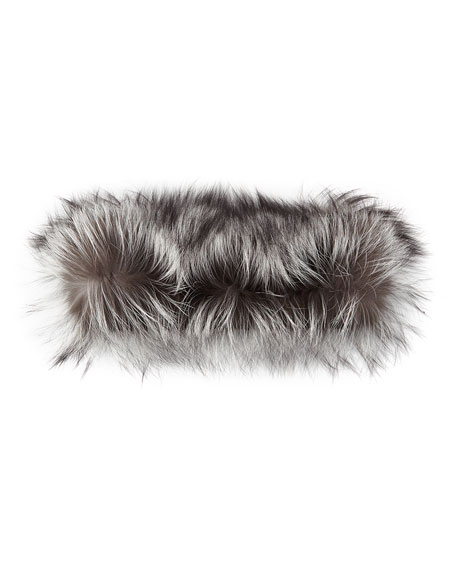 Silver Fox Fur Cowl Collar, Caviar/Dark Gunmetal