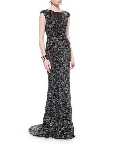 Refined Sparkle Knit Sequined Gown