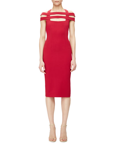 Strappy-Shoulder Jersey Sheath Dress, Red