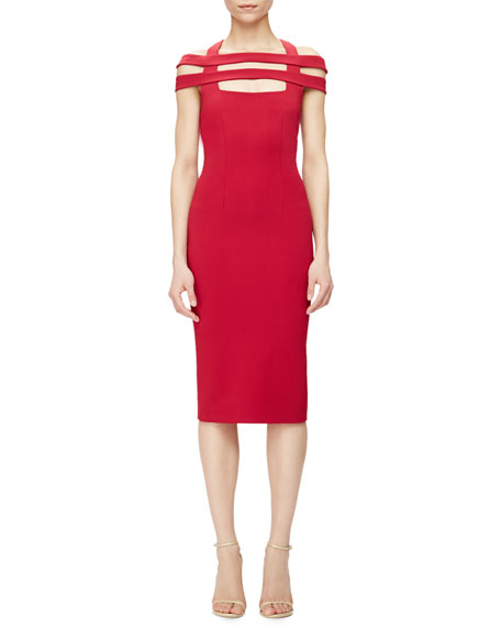 Cushnie Et Ochs Strappy-Shoulder Jersey Sheath Dress, Red