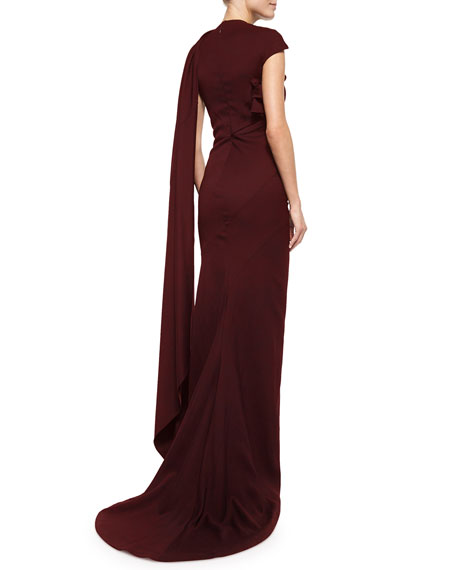 Cap-Sleeve Satin Sash Gown, Burgundy