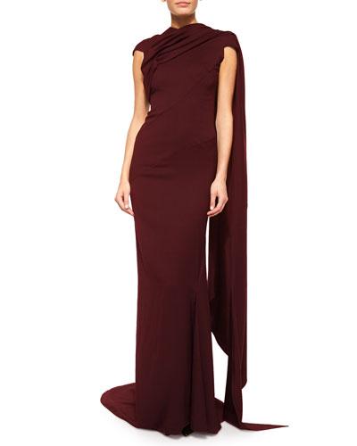 Cap-Sleeve Satin Sash Gown, Burgundy