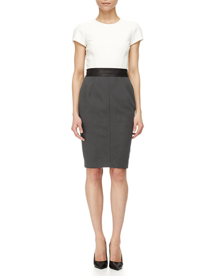 Narciso Rodriguez Short-Sleeve Colorblock Dress