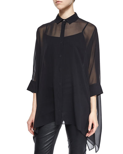 Silk Georgette 3/4-Sleeve Blouse, Caviar