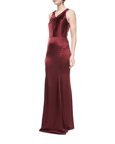 Liquid Satin Gown W/Twisted