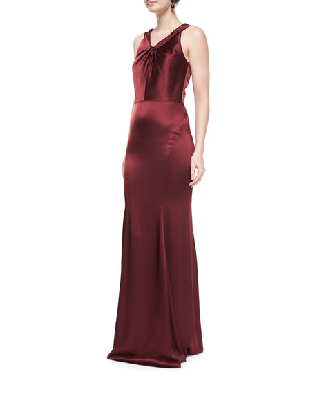 St. John Collection Liquid Satin Twisted-Neck Gown