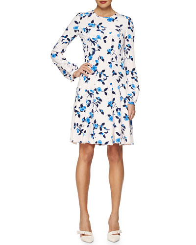 Scattered Pansies-Print Crepe Dress