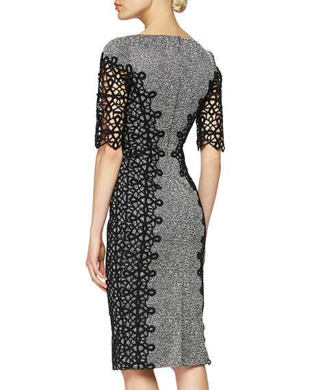 ELBOW SLV PLACED LACE DRESS