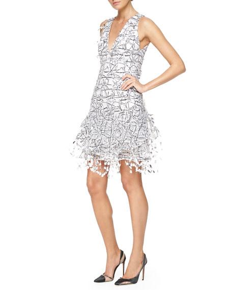 Carolina Herrera Threaded Paillette Fringe Cocktail Dress Dress