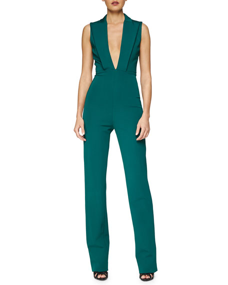 DEEP VNECK STRETCH JUMPSUIT