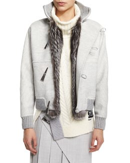 Cashmere-Blend Fox Fur Trimmed Baseball Jacket