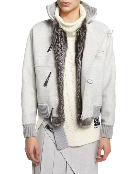 Prabal Gurung Cashmere-Blend Fox Fur Trimmed Baseball Jacket