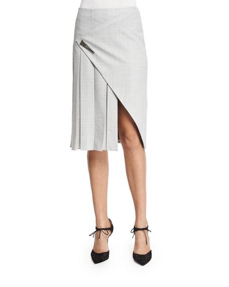 Prabal Gurung Faux-Wrap Pleated Midi Skirt