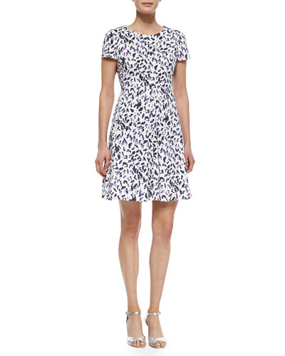 Cap-Sleeve A-Line Printed Dress, Purple Multi