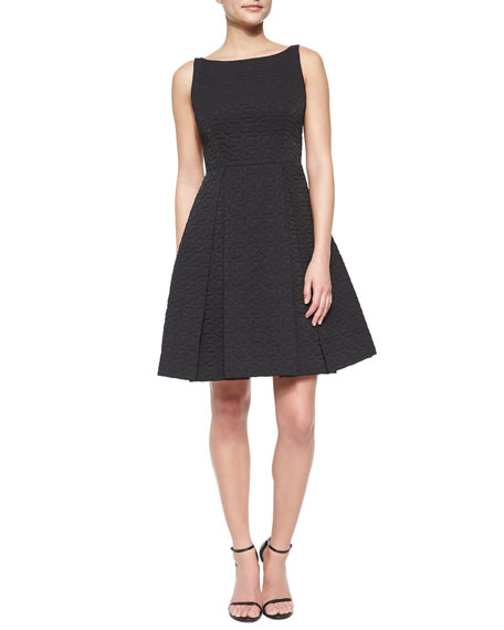 Bow-Back Quilted A-Line Dress, Black