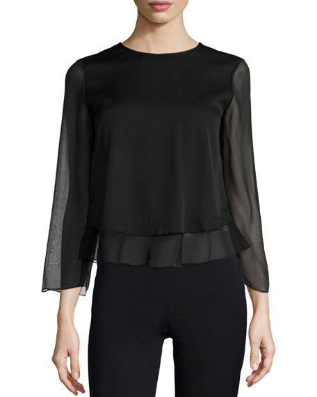 Armani Collezioni 3/4-Sleeve Jewel-Neck Blouse, Black
