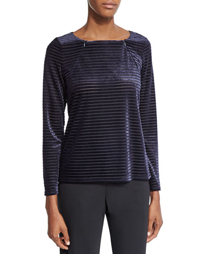 Long-Sleeve Double-Zip Striped Top, Dark Blue
