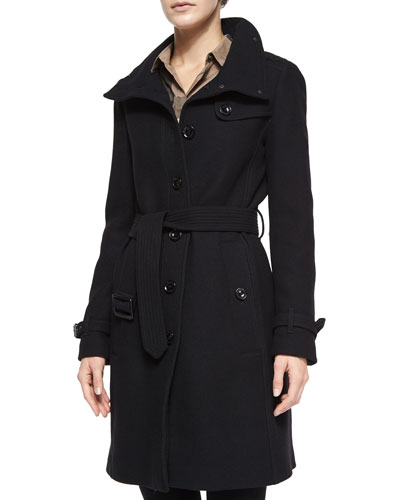 Rushfield Wool-Blend Belted Single-Breasted Coat