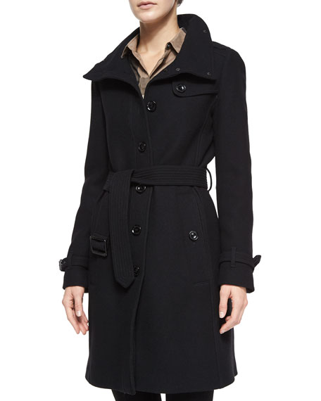 Burberry Brit Rushfield Wool-Blend Belted Single-Breasted Coat