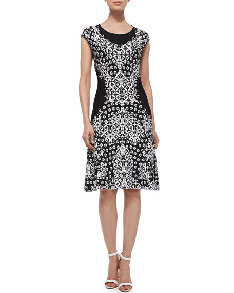 Escada Flower Placed Twirl Dress, Black/White