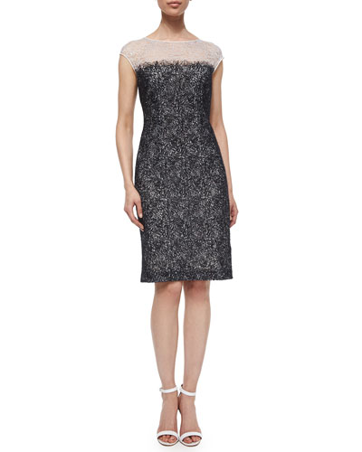 Embroidered Chantilly Lace Dress, Off White