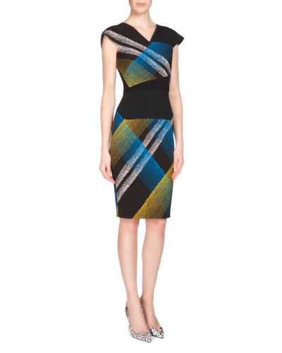 Beadle Plaid Beaded Crepe Sheath Dress