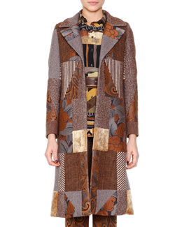 Patchwork Jacquard Fitted Coat