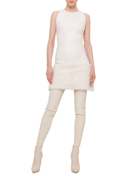 Akris Shearling Fur-Trimmed Apron Dress
