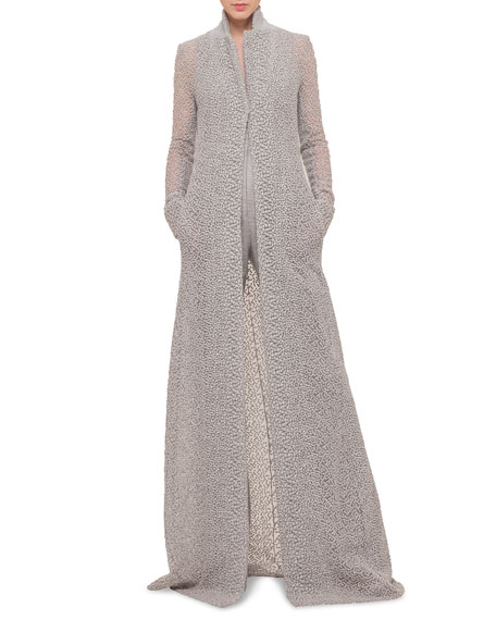 Akris Embroidered Tulle Long Coat
