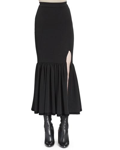 Velvet-Trimmed Slit Trumpet Skirt