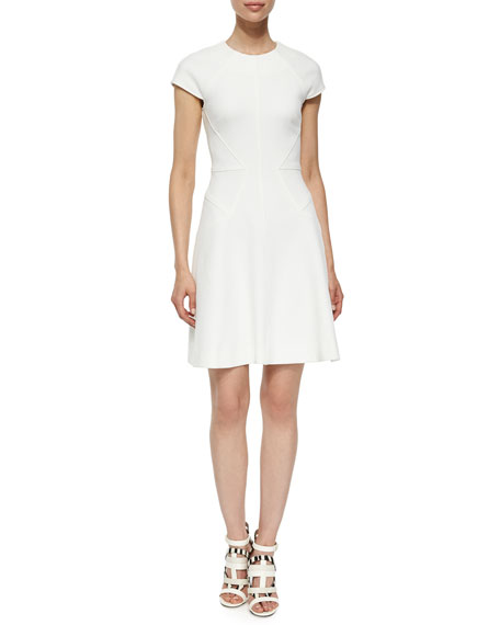 Lela Rose Blair Cap-Sleeve Dress, Ivory