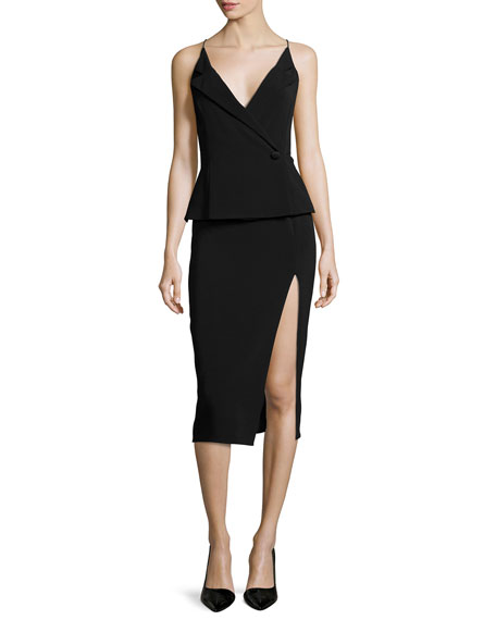 Cushnie Et Ochs Buttoned Peplum High-Slit Dress