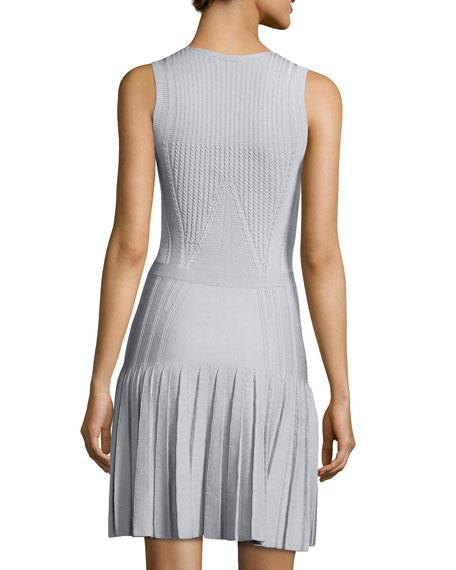 Cushnie Et Ochs Textured Knit Pleated Flounce Dress