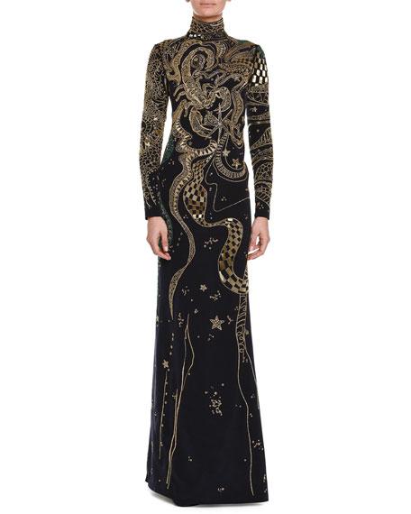 Long-Sleeve Zodiac Beaded Gown