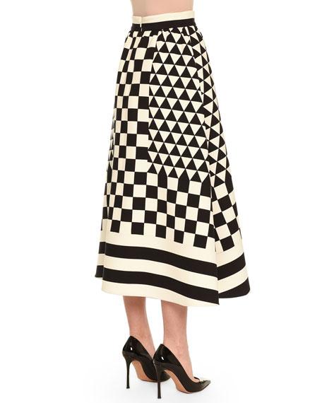 Geometric Checkerboard-Print Midi Skirt