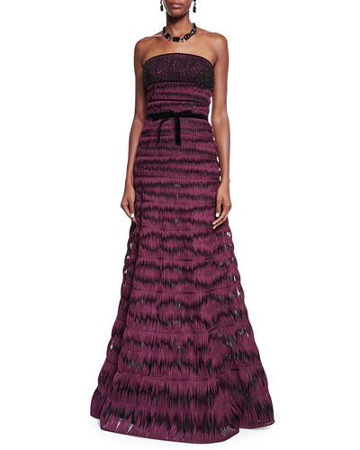 Strapless Twirled Ribbon Belted Gown, Bordeaux