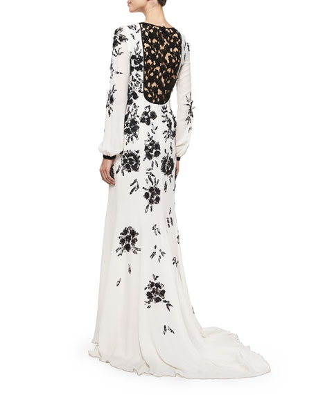 Long-Sleeve Floral-Embellished Gown, Ivory/Black