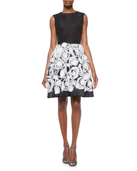 Oscar de la Renta Organza Petal-Skirt A-Line Dress