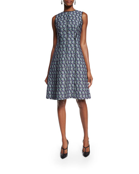 Oscar de la Renta Sleeveless Multi-Print Tweed Dress,
