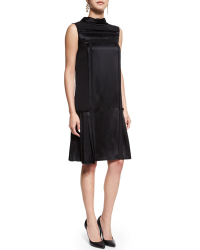 Sleeveless Mock-Neck Sheath Dress, Black