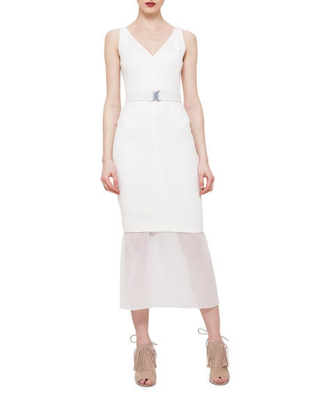 Akris punto Belted Chiffon-Trimmed Sheath Dress